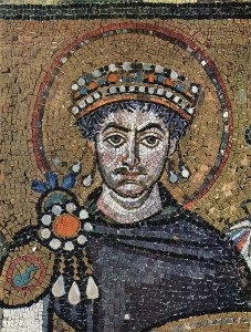 Justinian I from a contemporary portrait in the Basilica of San Vitale, Ravenna